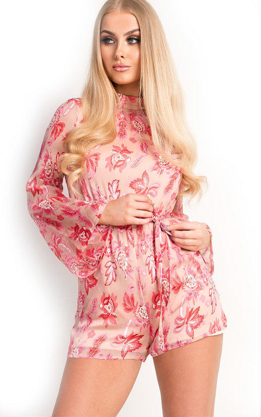 19bbd2e234c Elissa Floral High Neck Belted Playsuit in Pink