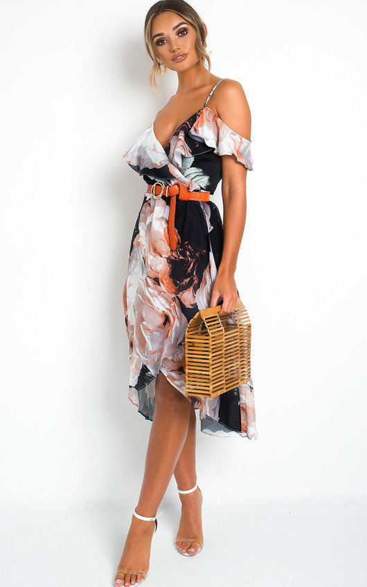 10417e70b Elle Floral Wrap Front Midi Dress. HOVER ITEM TO ZOOM