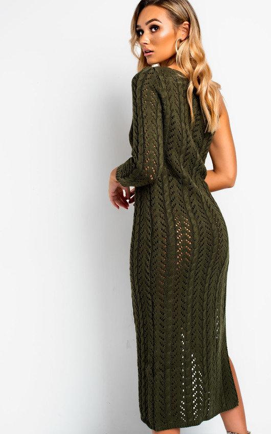 fab0c79723b2 Emy Knitted Side Split One Shoulder Dress in Khaki | ikrush