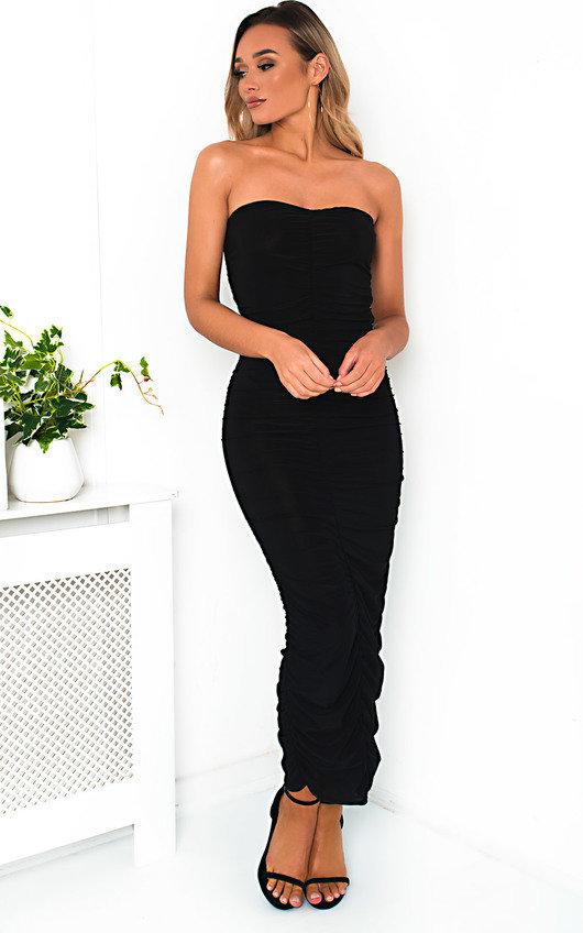 9bb7c51cc7849 Esme Bandeau Ruched Bodycon Midi Dress in Black | ikrush