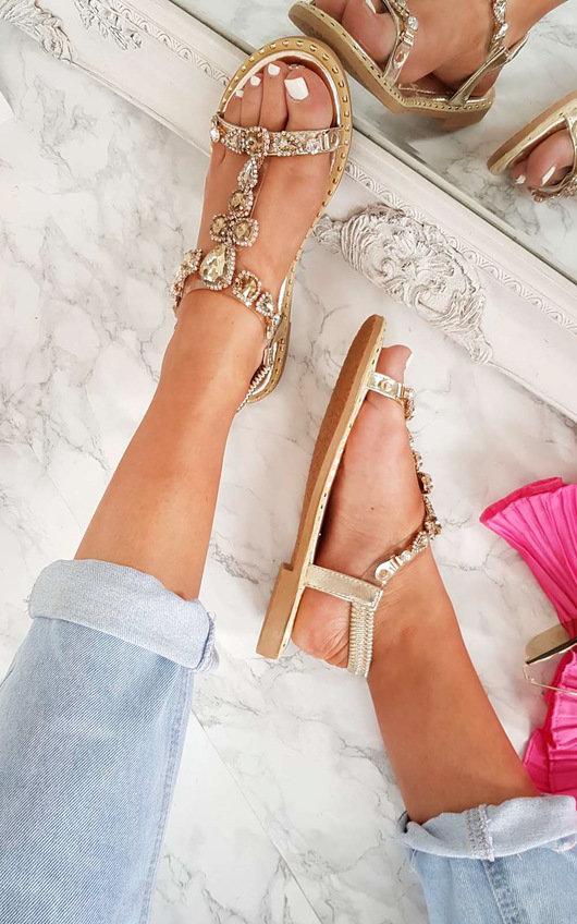 IKRUSH Womens Esmi Peep Toe Embellished Sandal