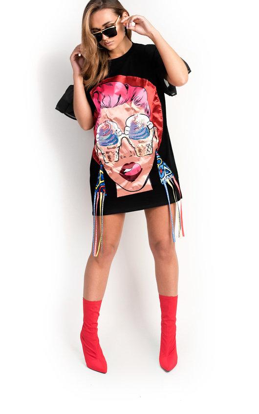 Estelle Slogan Pop Art T-Shirt Dress in Black | ikrush