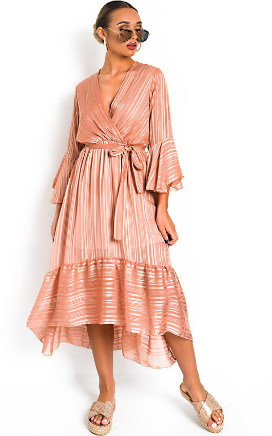 0278dab9ee7 Etta Shimmer Frill Maxi Dress in Pink