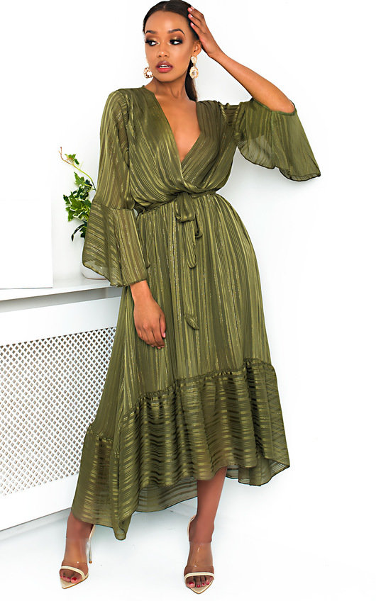 79401692b3b Etta Shimmer Frill Maxi Dress in Green