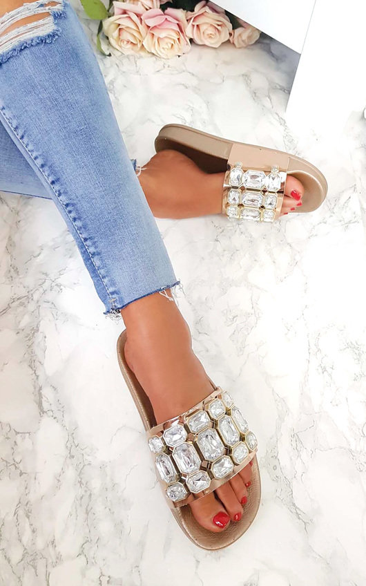 4a4b163d6bff37 Farah Embellished Sliders in Rose gold