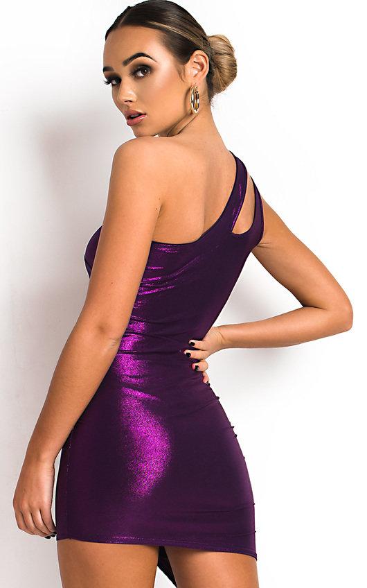 e36ecd63e0d Felina One Shoulder Shimmer Mini Dress in Purple