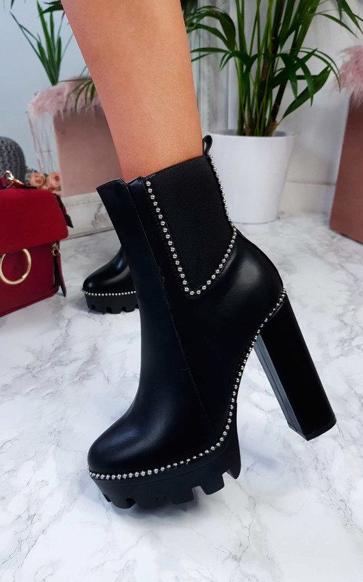 4d074322c170 Fifi Studded Chunky Heeled Boots in Black