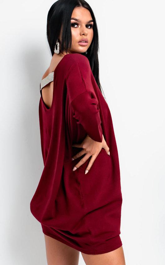 75af56dba2f28 Frankie Diamante Back Long Sleeved Jumper Dress in Wine | ikrush