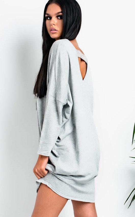 490f79a4b96ef Frankie Diamante Back Long Sleeved Jumper Dress in Grey | ikrush