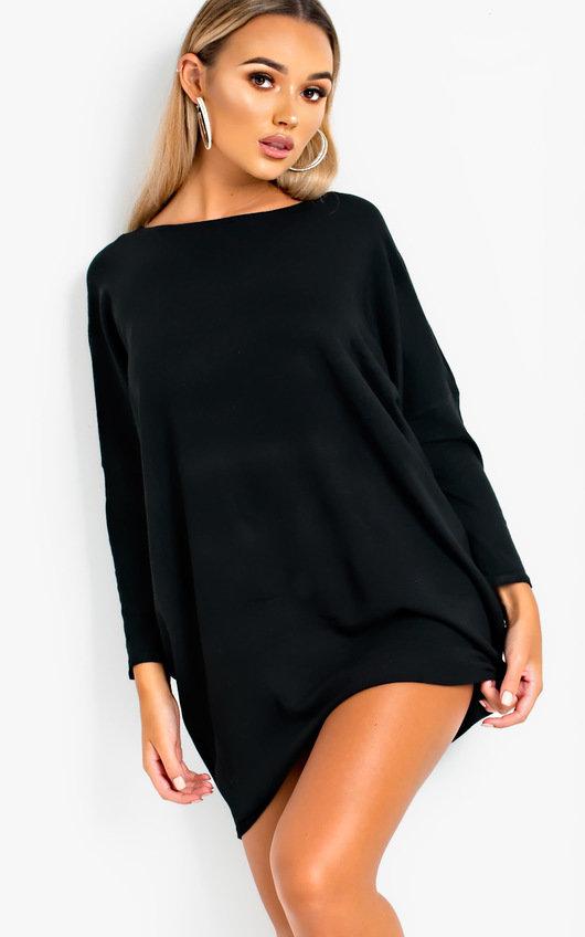 da0d1a0179f32 Frankie Diamante Back Long Sleeved Jumper Dress in Black | ikrush