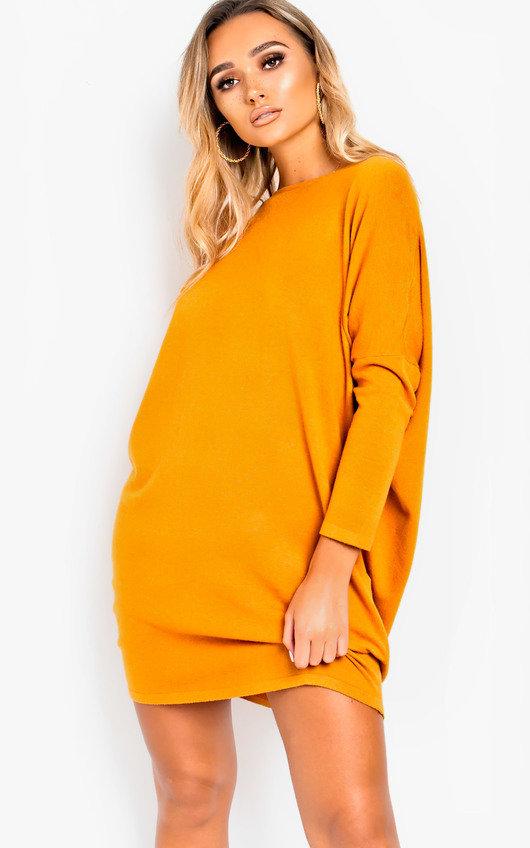 081b265fd0ec0 Frankie Diamante Back Long Sleeved Jumper Dress in Mustard | ikrush