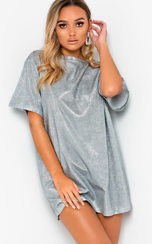 Frida Glitter Oversized T Shirt Dress In Silver Ikrush