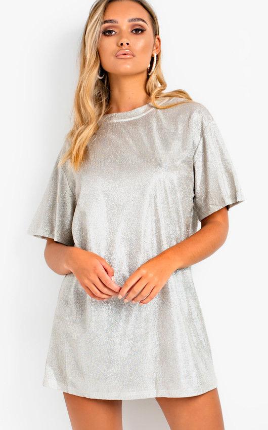 Frida Glitter Oversized T Shirt Dress In Beige Ikrush