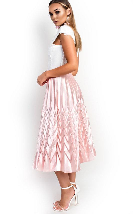 Gabbana Metallic Pleated Midi Skirt In Pink Ikrush
