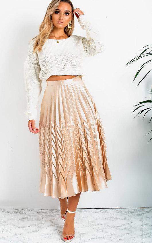 268082c46e Gabbana Metallic Pleated Midi Skirt in Lht gold | ikrush