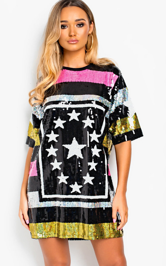 c84b837cc67 Gaga Sequin Oversized T-Shirt Dress. HOVER ITEM TO ZOOM