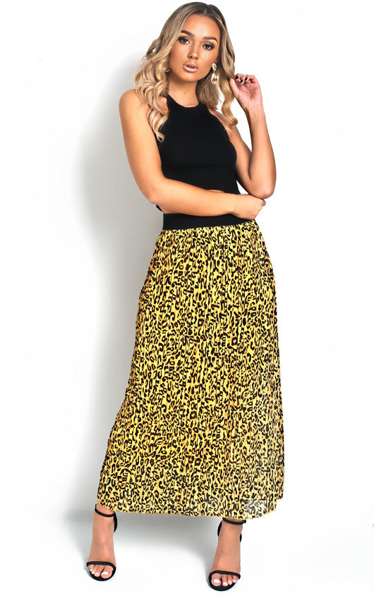 e41e229bbc Georgie Pleated Animal Print Midi Skirt. HOVER ITEM TO ZOOM