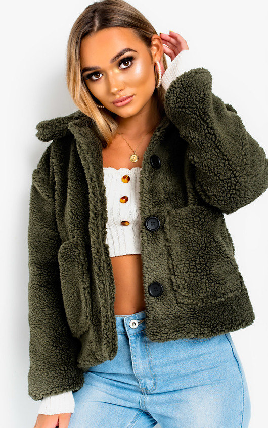 Gina Teddy Bear Button Up Jacket In Green Ikrush