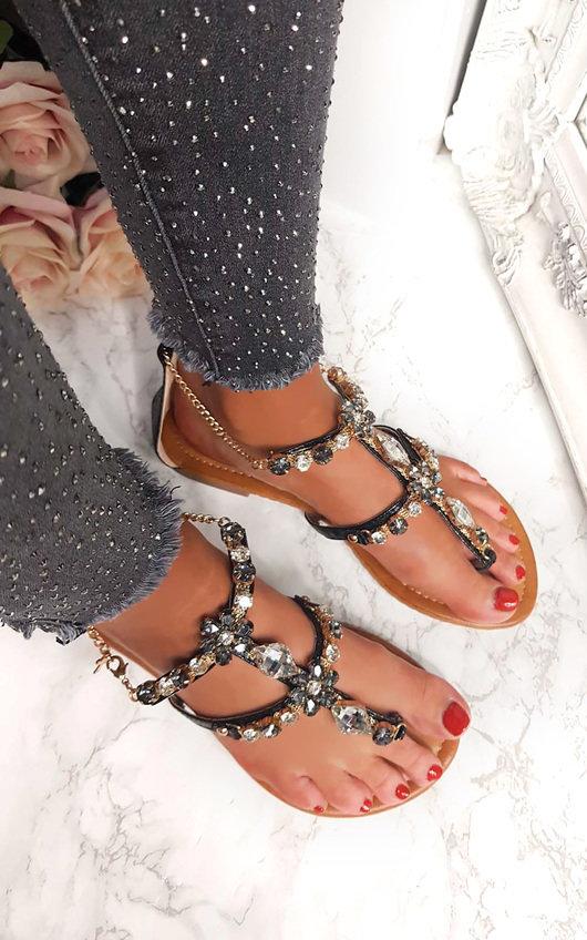 2345b1880 Gomez Crystal Embellished Sandals in Black