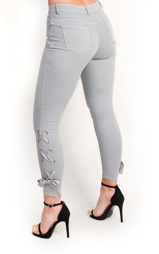 924d91202bc4 Hanna Ribbon Tie Up Skinny Jeans in Grey | ikrush