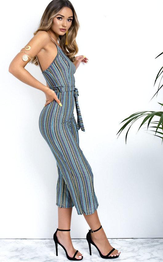 b4c524809de7 Harli Glitter Stripe Tie Waist Wide Leg Jumpsuit. HOVER ITEM TO ZOOM