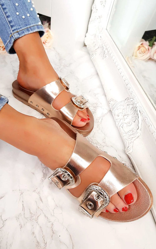 43d6d309ce5e Harper Double Buckle Studded Sliders in Rose gold