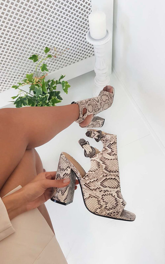 9c40a9ef40ae Hatti Buckle Peep Toe Ankle Boot in Snake