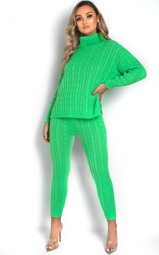 f346a60ed811 Jaz Cable Knit Polo Neck Lounge Co-ord in Neon green | ikrush