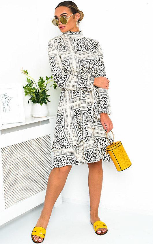 1f1547e47847 HOVER ITEM TO ZOOM. Joanne Animal Print Frill Midi Dress Thumbnail