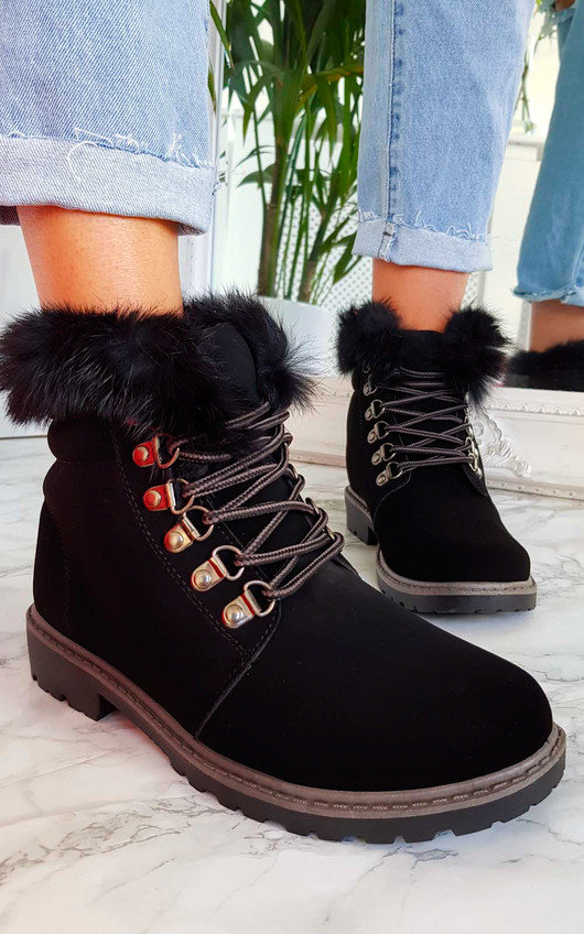 842f198e8c Jody Faux Fur Lace Up Boots in Black | ikrush