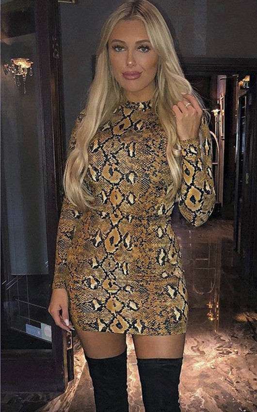 f0c01ef902803a Jolli Long-Sleeve Snake Print Boydcon Dress. HOVER ITEM TO ZOOM