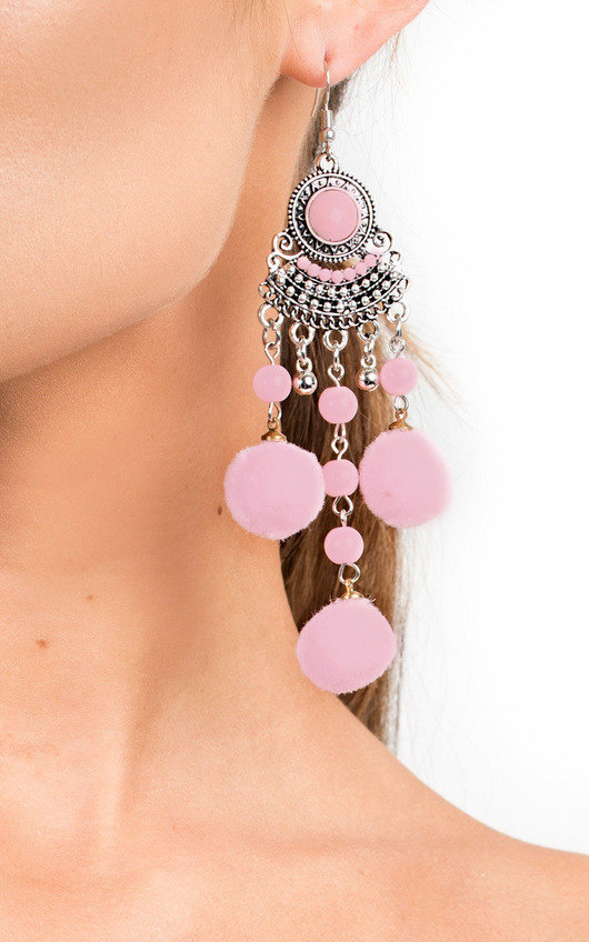 4ba6a1deb Kali Pom Pom Drop Earrings in Pink | ikrush