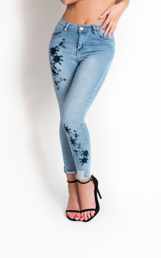 34a641cf51bc9 Kamran Embroidered Skinny Jeans