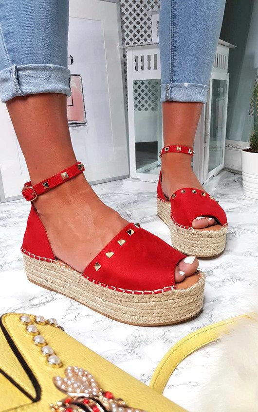 faa9acbe5ca83 Kandi Studded Espadrille Flatform Sandal in Red