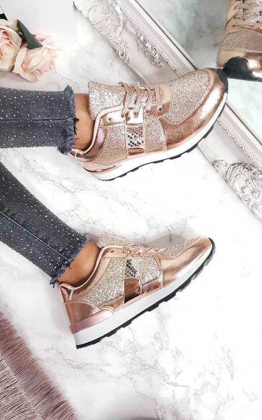 Karlie Metallic Sequin Trainers
