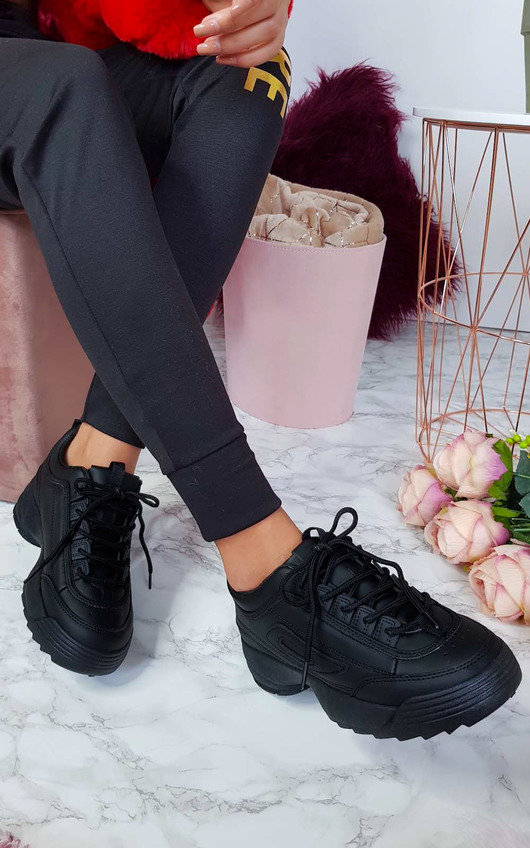 6d47e3619ab1 Kaye Chunky Sole Sport Trainer in Black | ikrush