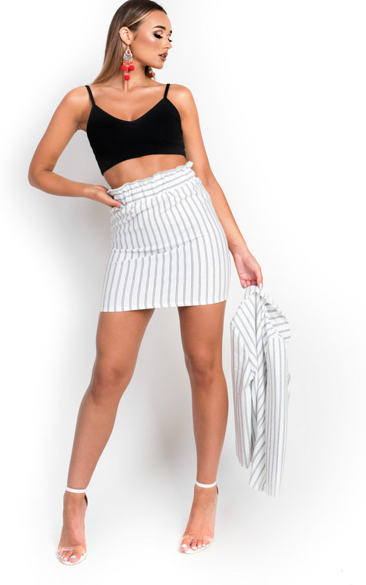 29e8013f54 Kirti Paperbag Pin-Striped Skirt. HOVER ITEM TO ZOOM