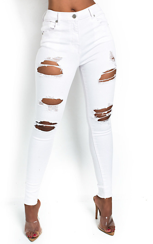 82f1be28e46 Layla Distressed White Skinny Jeans in White | ikrush