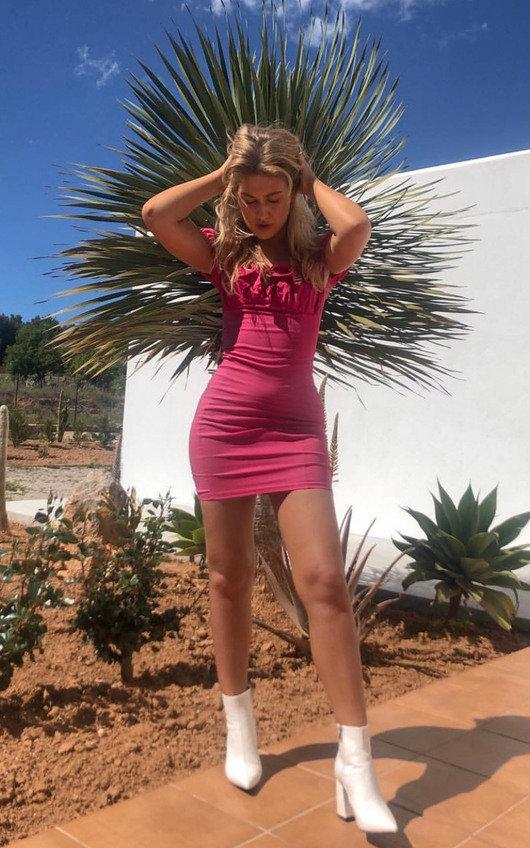 d9f541c94dcc0d Leona Bardot Frill Bandage Dress in Fuschia