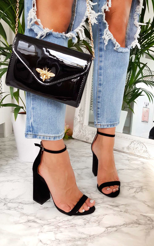 e3aa6cebfa2 Lola Barely There Block Heels in Black