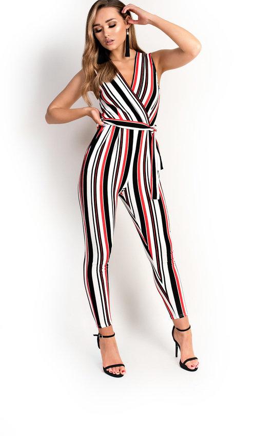 2d918d8edd4 Lorn Stripe Tie Waist Jumpsuit in Red