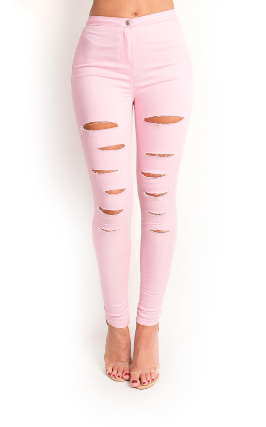 Loucia Skinny Mid Rise Ripped Jeans In Pink Ikrush