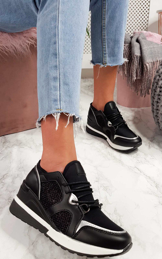 5d14986b6dc Louise Mesh Wedge Trainers in Black