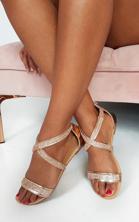 155eaae84737 Lucie Diamante Embellished Strappy Sandals in Rose gold