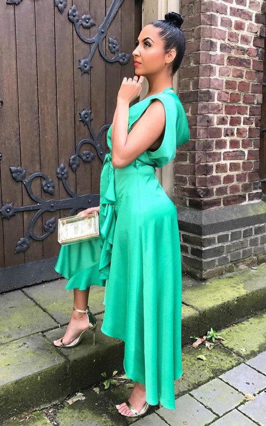 9e72561c8 Lynn Frill Hem Midi Dress in Green | ikrush