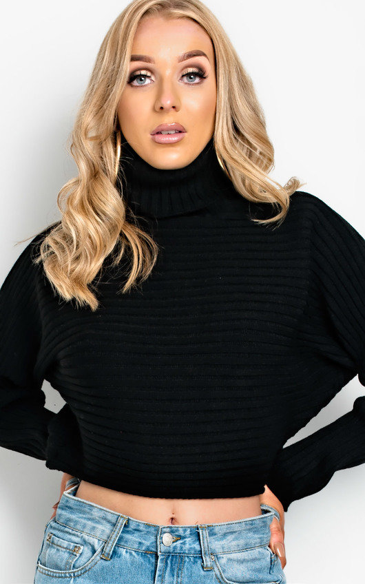 a9126b7ef2e Maarah Poloneck Knit Crop Jumper in Black | ikrush