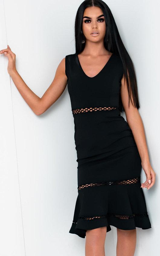 7e6a08b0ceb7 Macie Frill Cut-out Midi Dress in Black   ikrush
