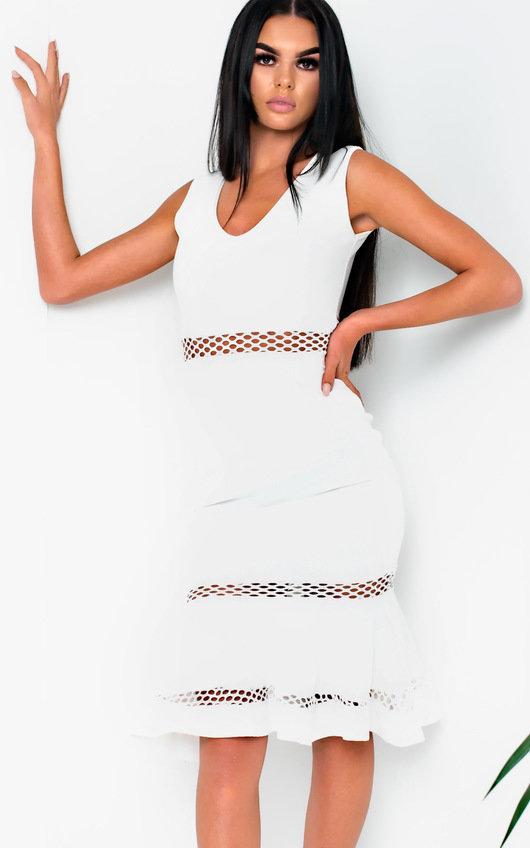66a498301790 Macie Frill Cut-out Midi Dress in White   ikrush