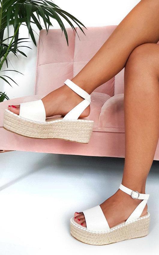 5f959bee160939 Maggie Flatform Sandals in White