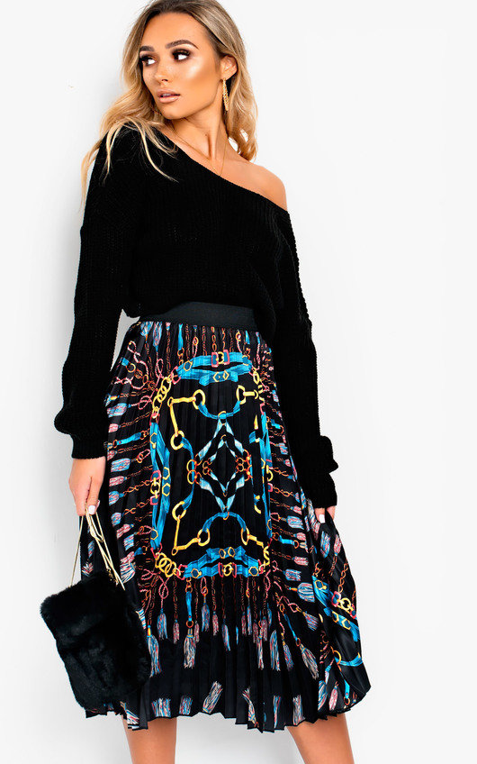 ebbcef43b1ea3 Maia Chain Detail Pleated Midi Skirt. HOVER ITEM TO ZOOM